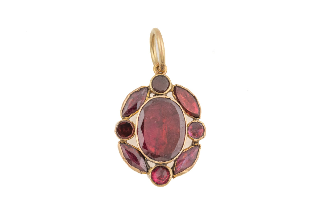 Antique Gold Flat Cut Garnet Charm