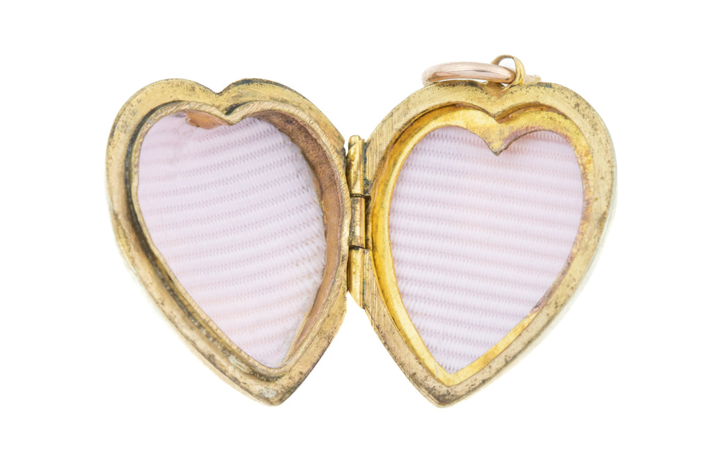 "Art Deco Heart Locket, with 18"" Chain"