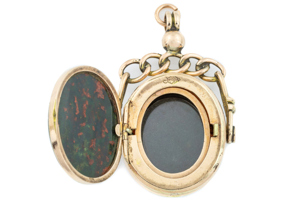 Victorian Bloodstone and Agate Spinner Fob Locket c.1878