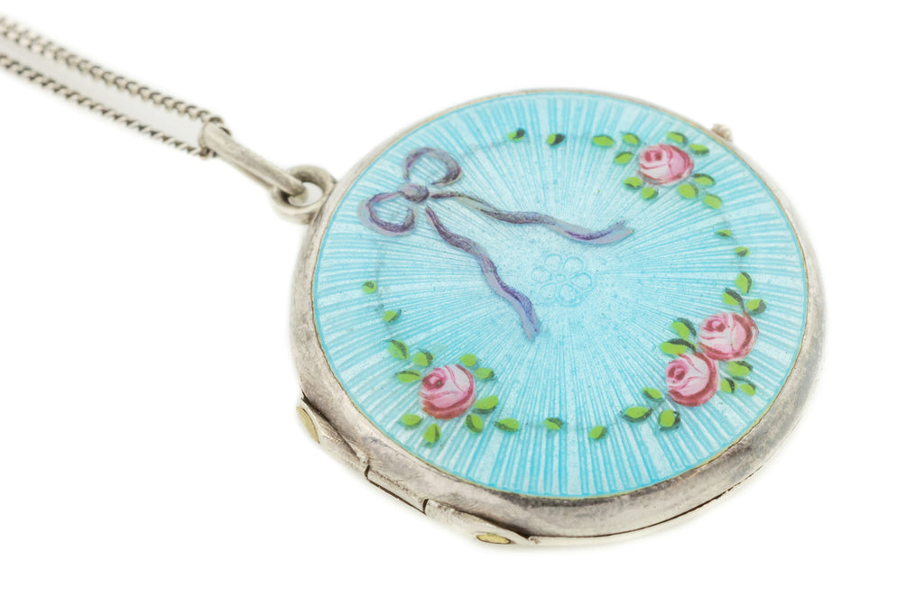 "Art Nouveau Enamel Guilloche Locket with Bow and Roses, Scandinavian with 16"" Silver Chain"