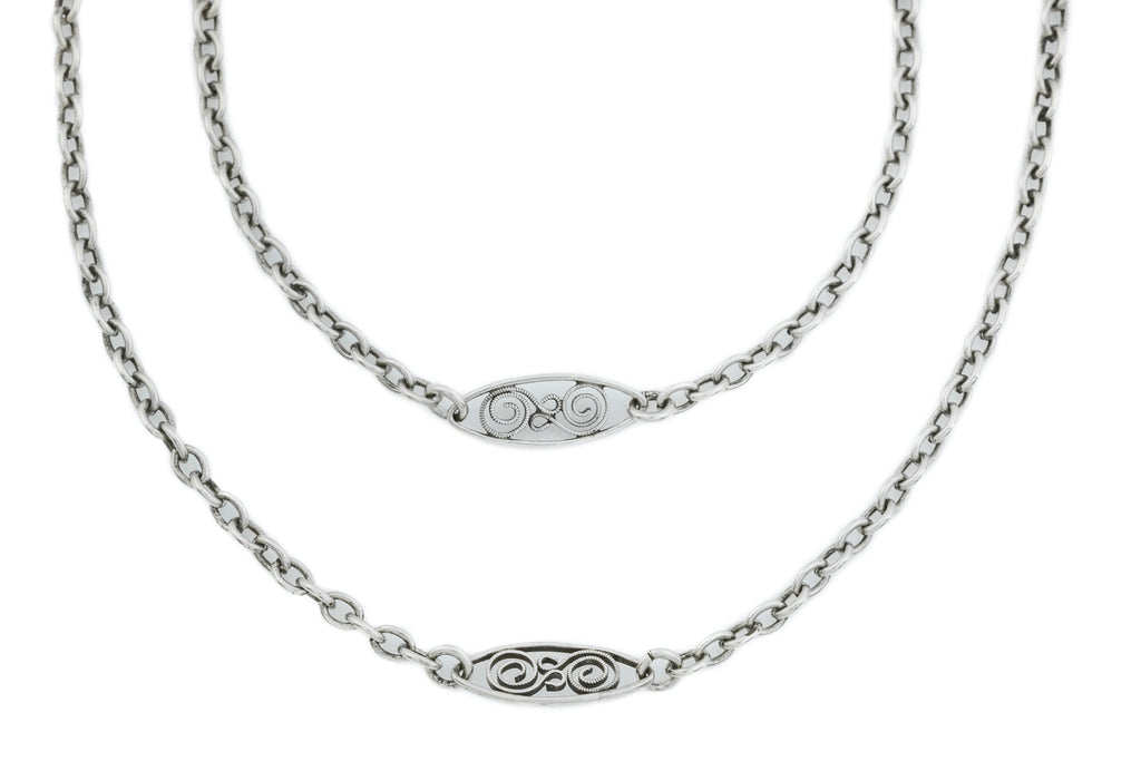Beautiful Art Nouveau French Silver Chain, 60""