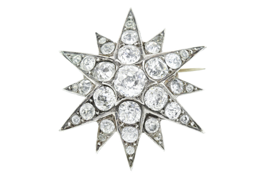 Victorian Silver Paste Star Brooch c.1880