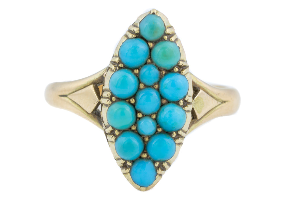 15ct Gold Antique Turquoise Navette Ring