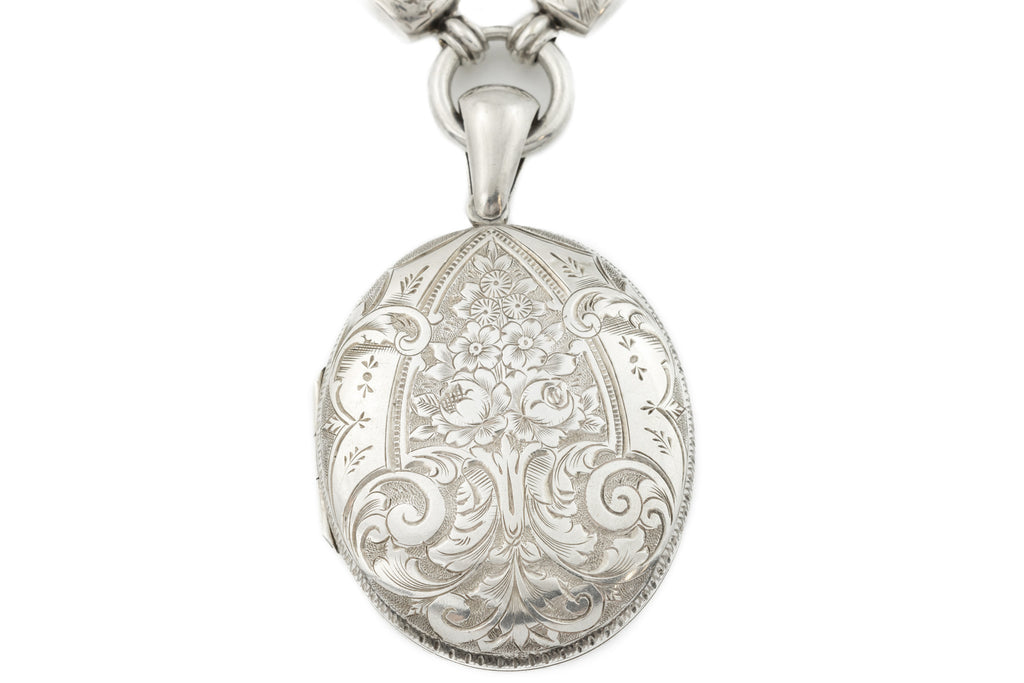 Victorian Sliver Locket with Chunky Victorian Book-Chain Necklace