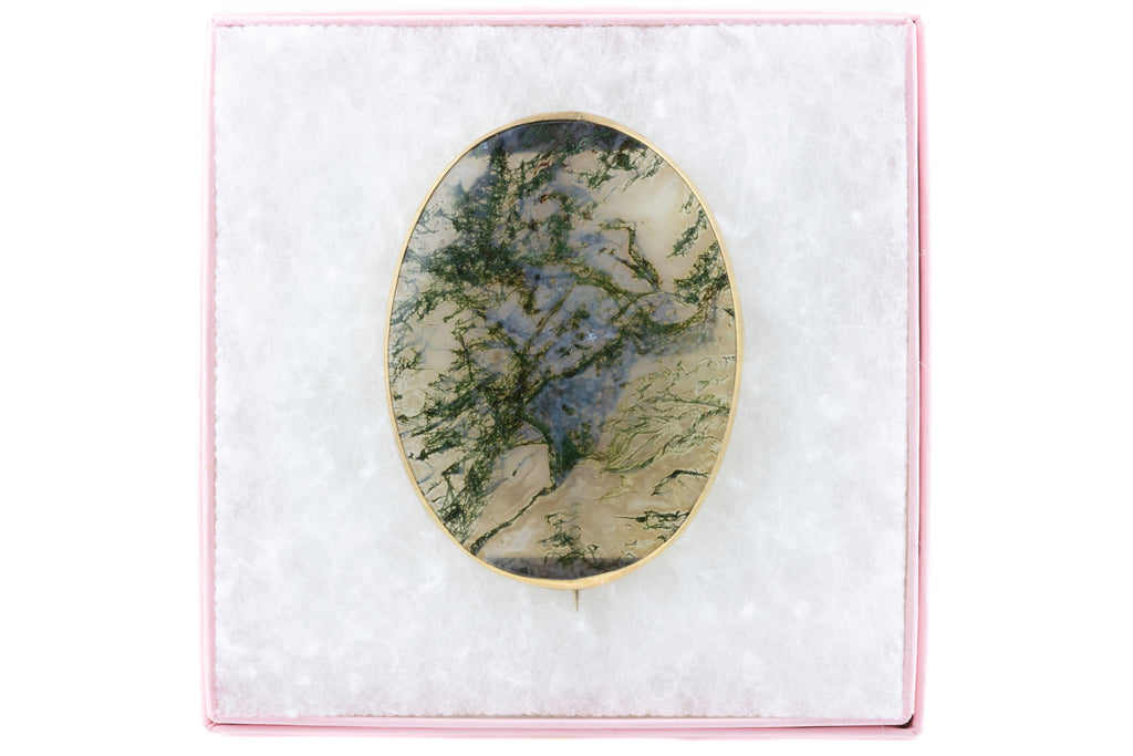 Large Antique 9ct Gold Moss Agate Brooch, 39ct