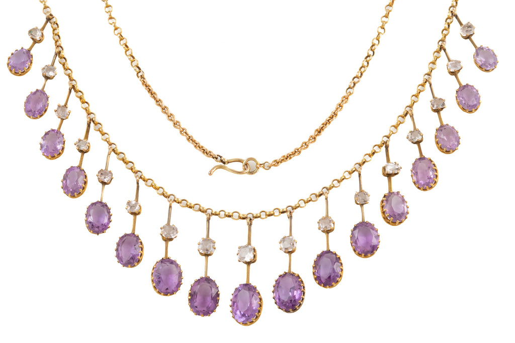 Antique 15ct Gold Amethyst Rock Crystal Fringe Necklace (19.00ct), 16""