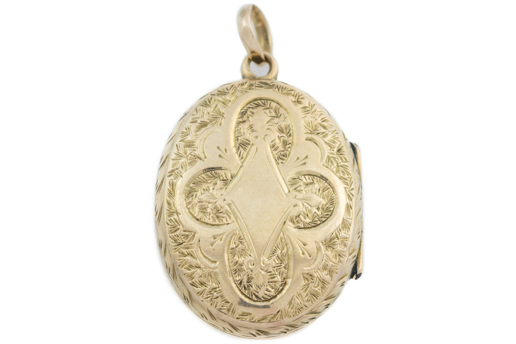 Antique 9ct Gold Locket with Blank Cartouche