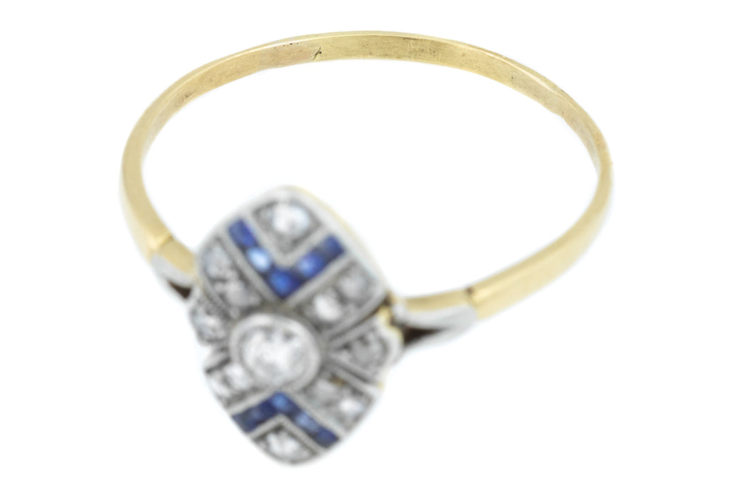 Sapphire Art Deco Diamond Panel Ring (0.21ct)