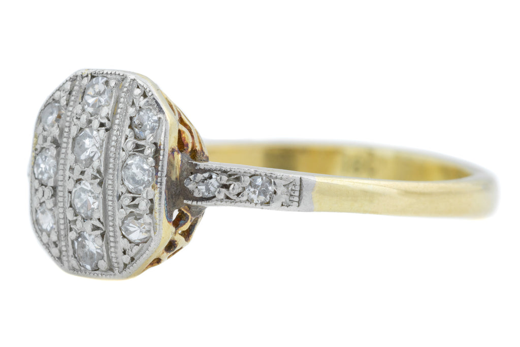18ct Gold Art Deco Diamond Cluster Ring