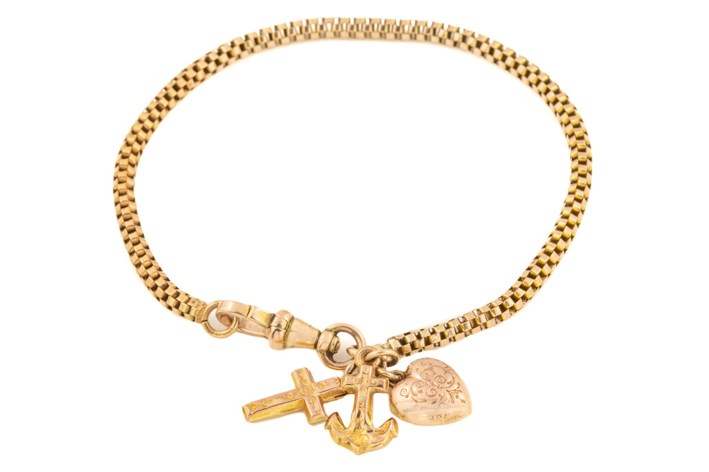 Antique Gold Fancy Snake Chain Bracelet with Vintage Faith Hope Charity Charms