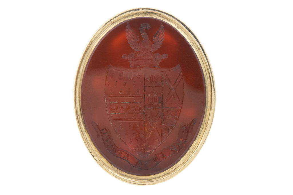 Georgian Gold Carnelian Fob Seal Pendant with Coat of Arms Intaglio
