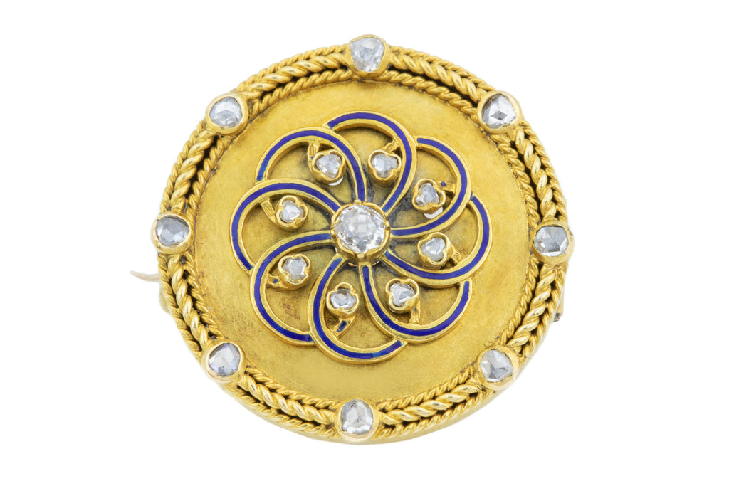 Antique 18ct Gold French Diamond Brooch with Blue Enamel