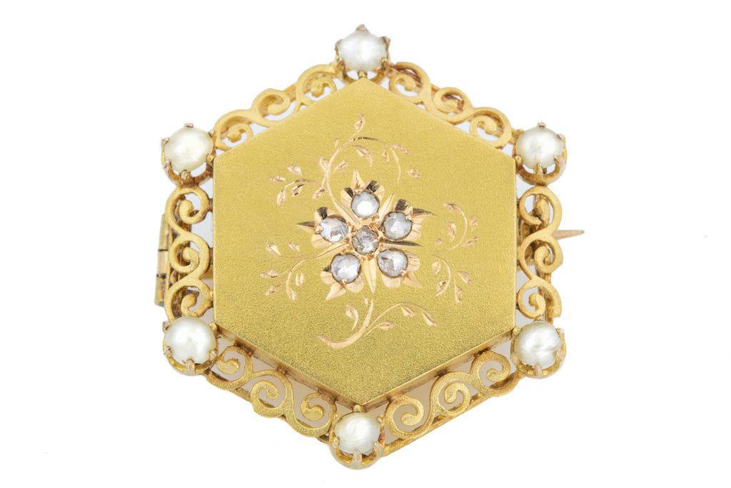French Diamond Antique 18ct Gold Brooch