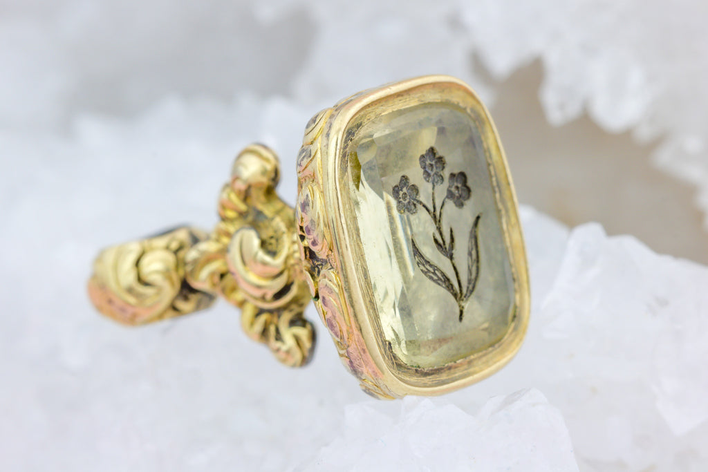 Antique Citrine Fob Pendant with Flower Intaglio