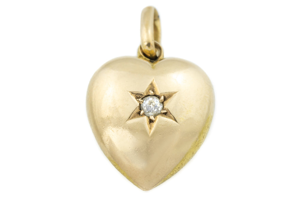 Victorian 15ct Gold Diamond Heart Charm Pendant