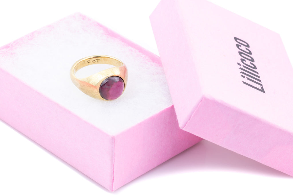9ct Gold Antique Garnet Cabochon Ring (3.16ct)