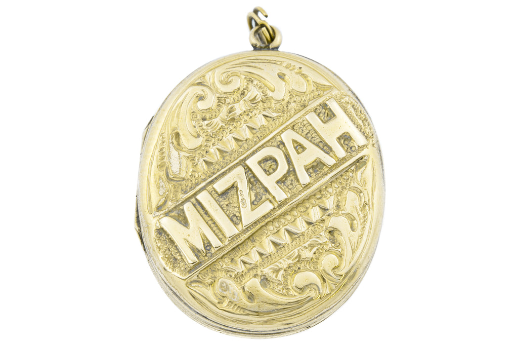 Victorian Mizpah Locket with Split Ring