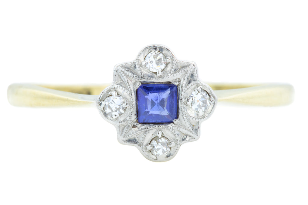 Art Deco Sapphire and Diamond Ring c.1928