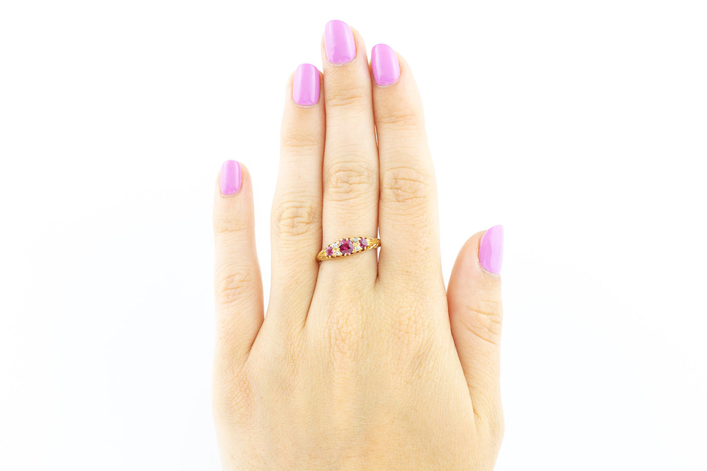 18ct Gold Edwardian Ruby and Diamond Boat Ring