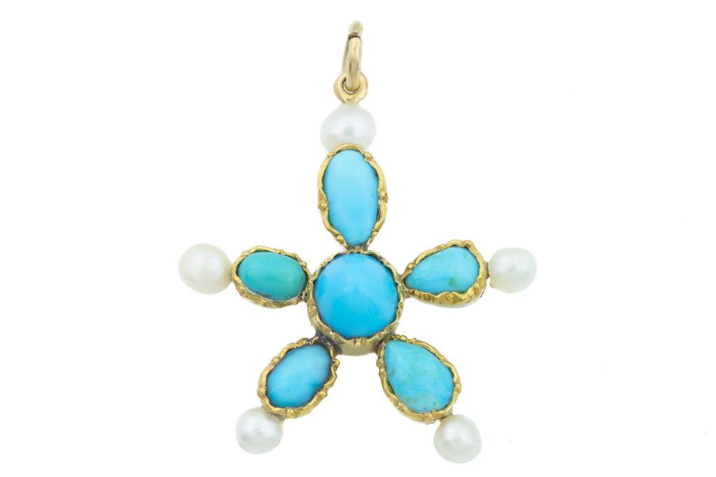 Antique 18ct Gold Turquoise and Pearl Pendant