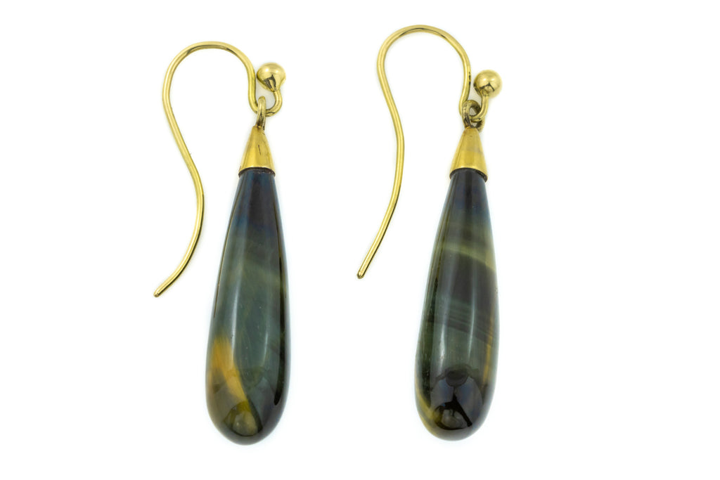 Edwardian Tigers Eye Drop Earrings in 9ct Gold
