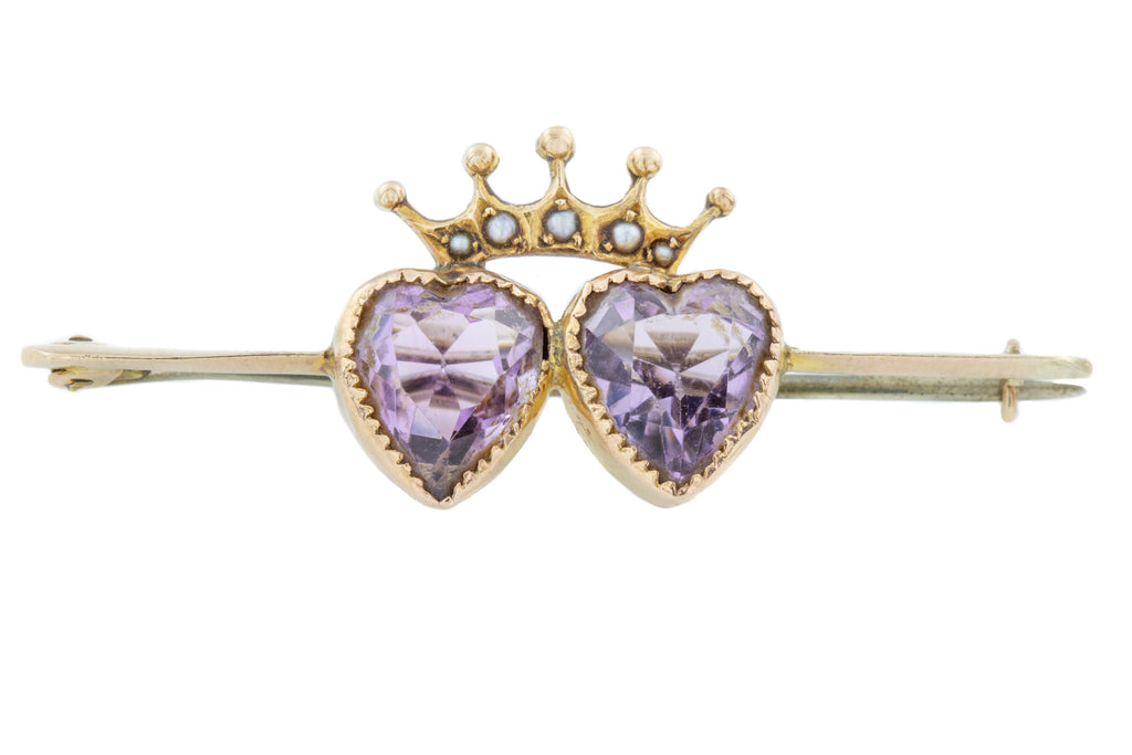 Edwardian 9ct Gold Amethyst Double Heart Brooch (3.58ct)