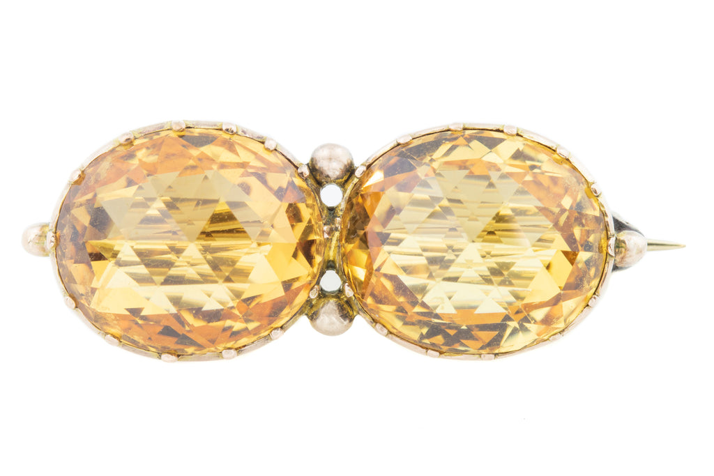Antique Citrine Double Gem Brooch (15ct)