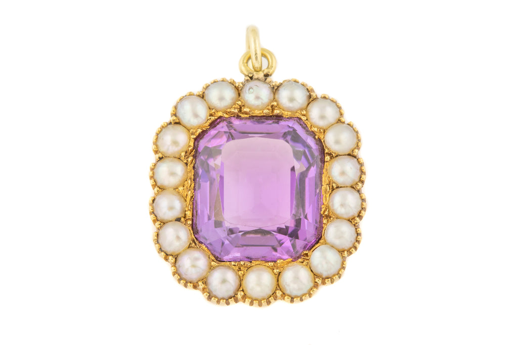 Georgian 15ct Gold Amethyst Pearl Pendant (4.89ct)