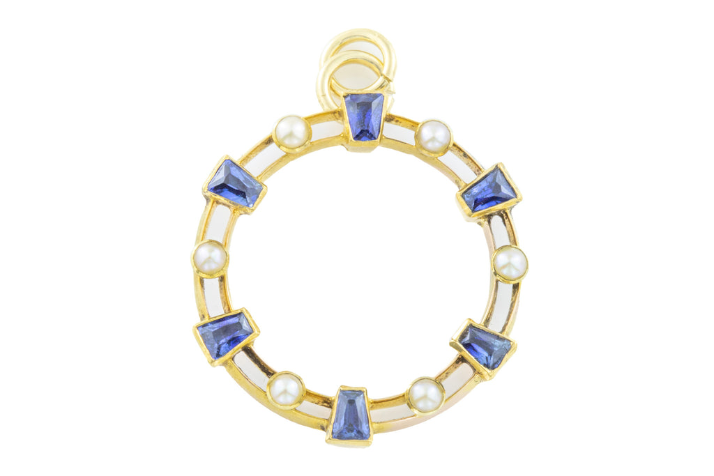 Edwardian 15ct Gold Sapphire and Pearl Pendant