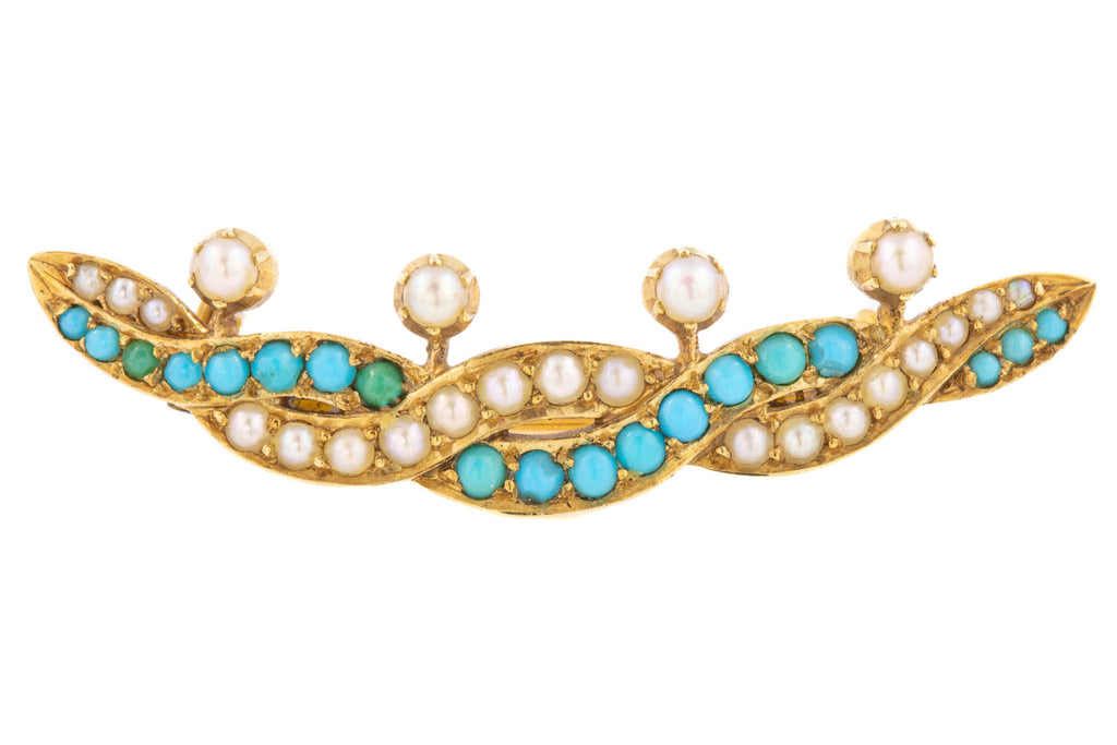 Victorian 15ct Gold Turquoise Pearl Brooch