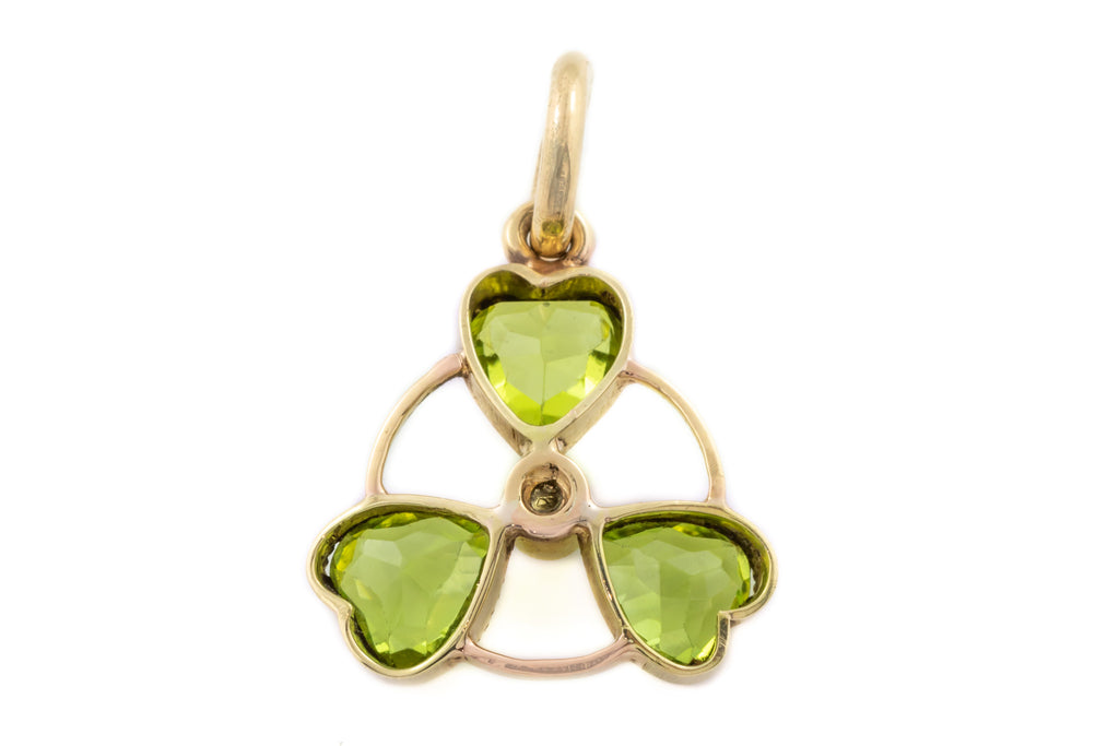 Antique 15ct Gold Peridot and Diamond Charm Pendant