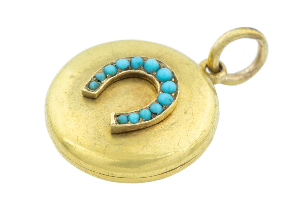 15ct Gold Victorian Locket with Turquoise Horseshoe Motif