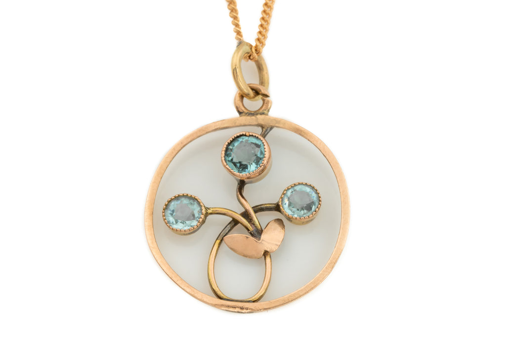 Art Nouveau 9ct Gold Zircon Flower Pendant with Chain