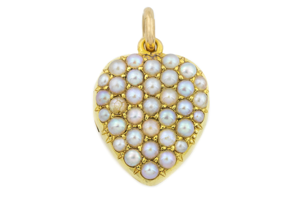 Victorian 15ct Gold Heart Locket with Pearls