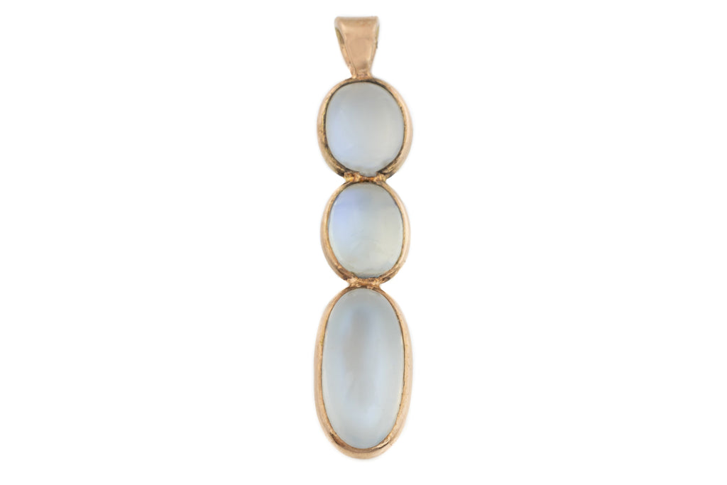 Art Nouveau 15ct Gold Moonstone Drop Pendant (5.05ct)