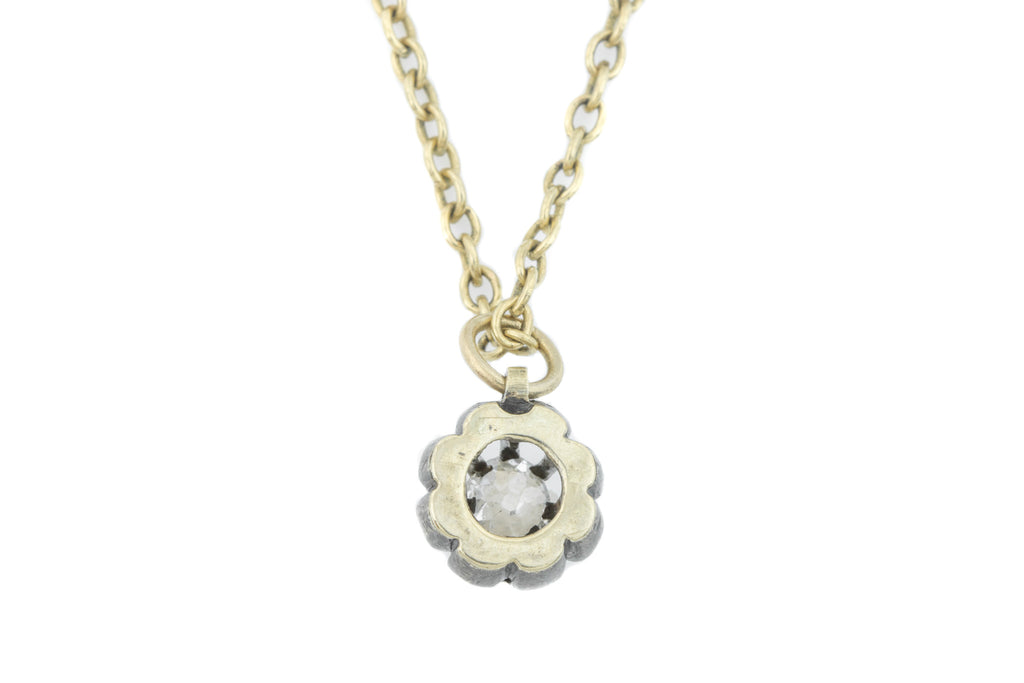 Sweet Victorian Diamond Pendant with Antique Chain (0.30ct)