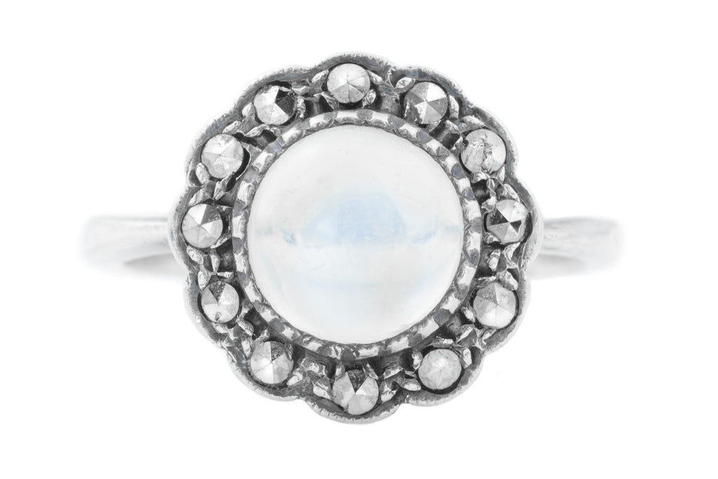 Art Deco Silver Moonstone and Marcasite Ring