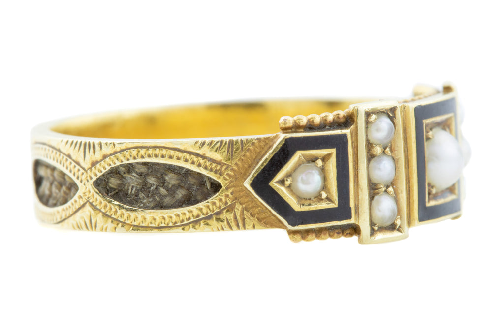 Edwardian 15ct Gold Mourning Ring c.1902