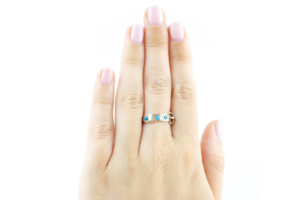 Victorian 9ct Gold Buckle Ring with Turquoise