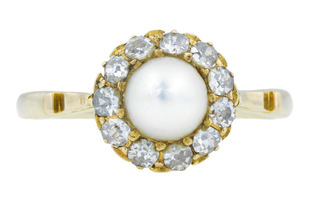 Antique Diamond and Pearl Cluster Ring