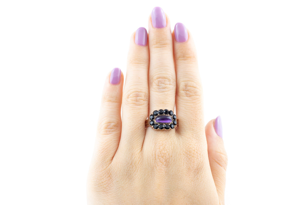 Georgian Amethyst and Jet Cluster Ring c.1813