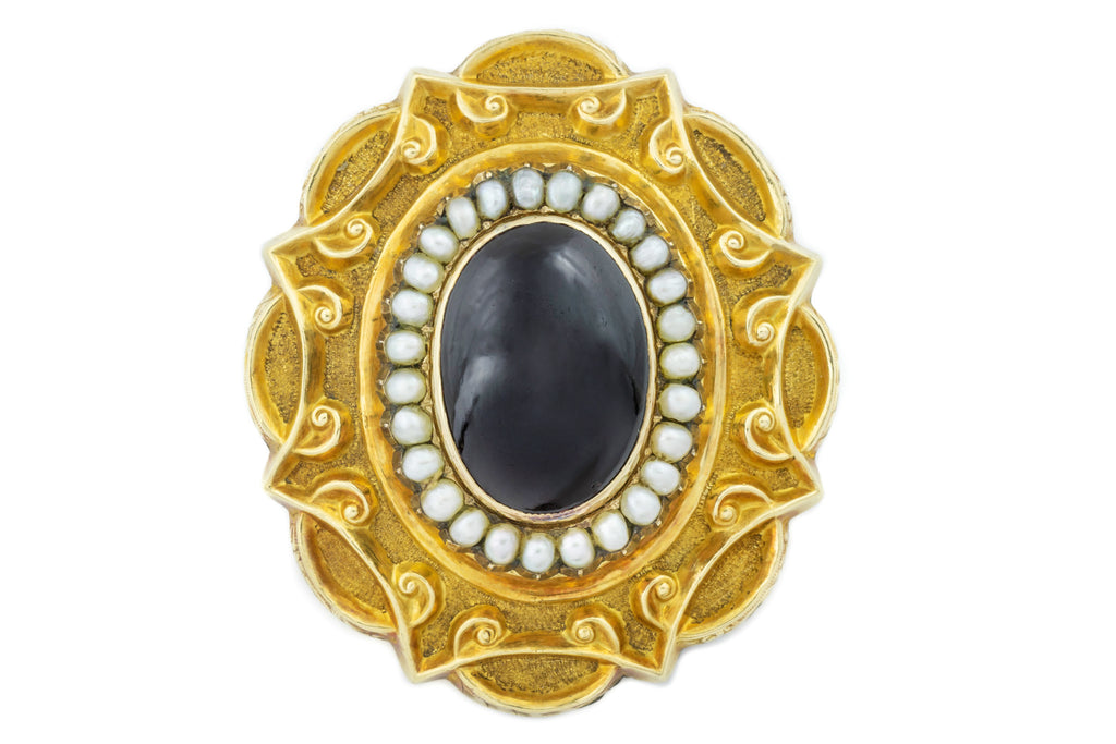15ct Gold Antique Garnet Pearl Brooch (5.51ct)