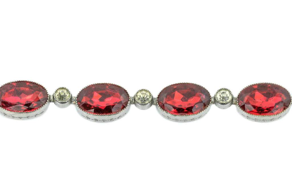 Art Deco Red Paste Riviere Necklace