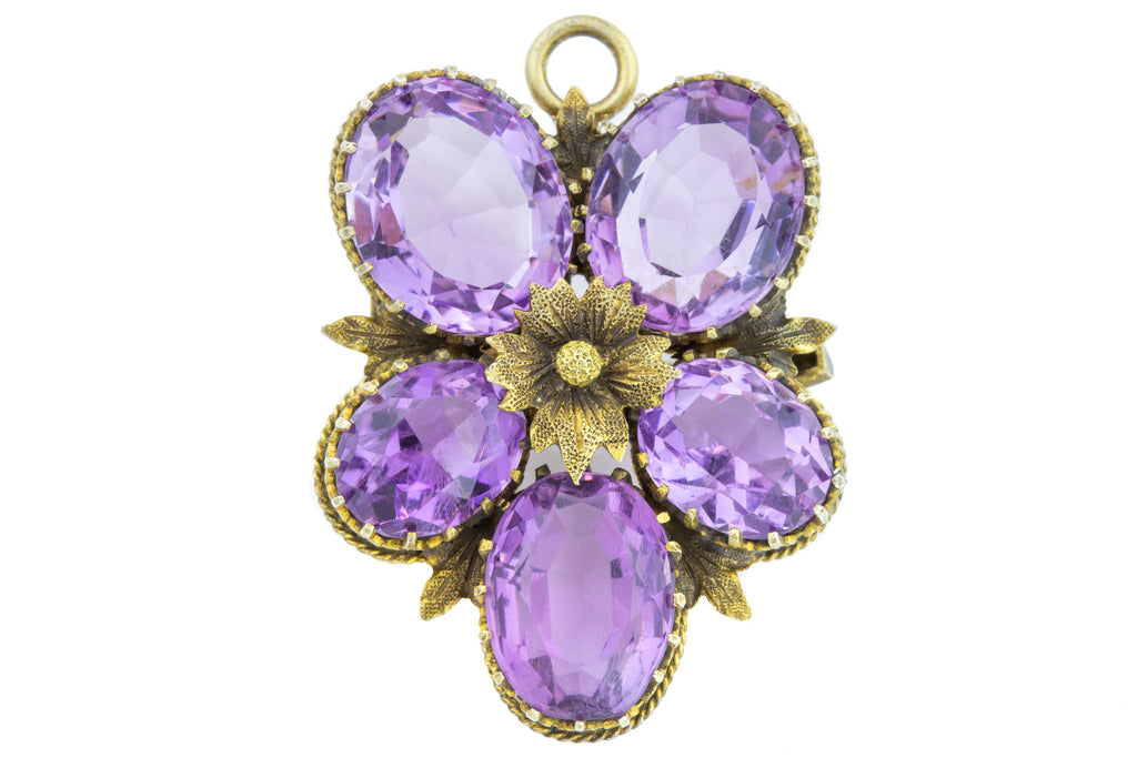 Antique Amethyst Flower Brooch (15.74ct) c.1890