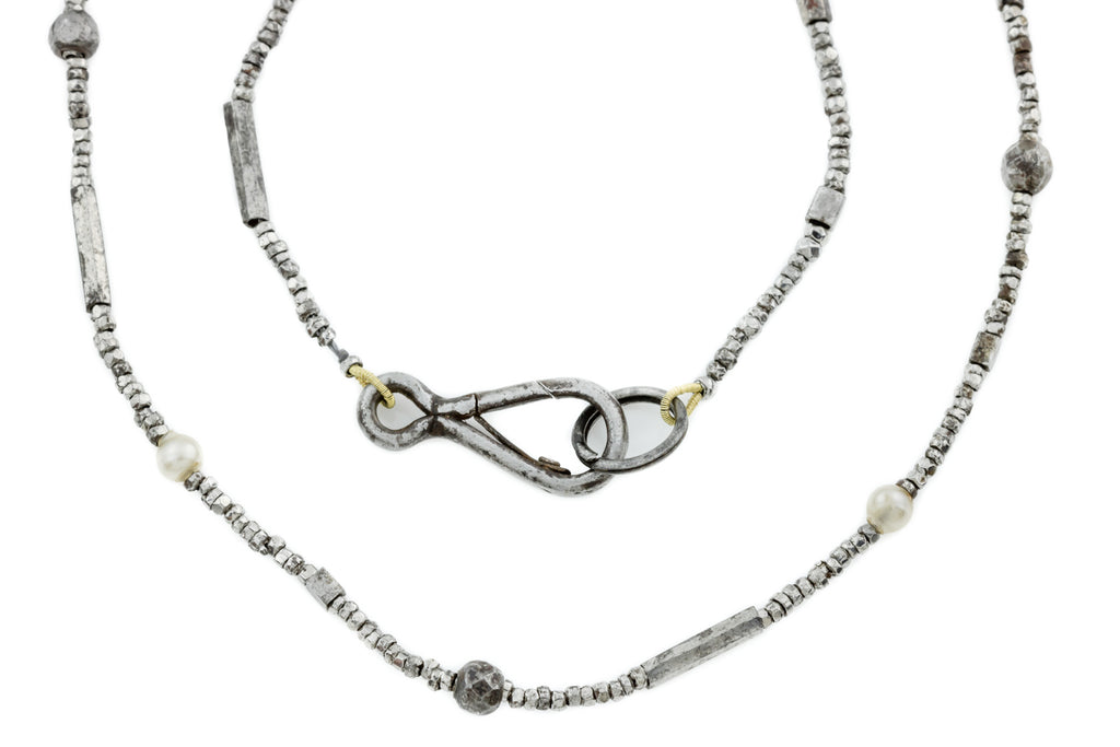 Antique Cut Steel Sautoir Necklace, 62""