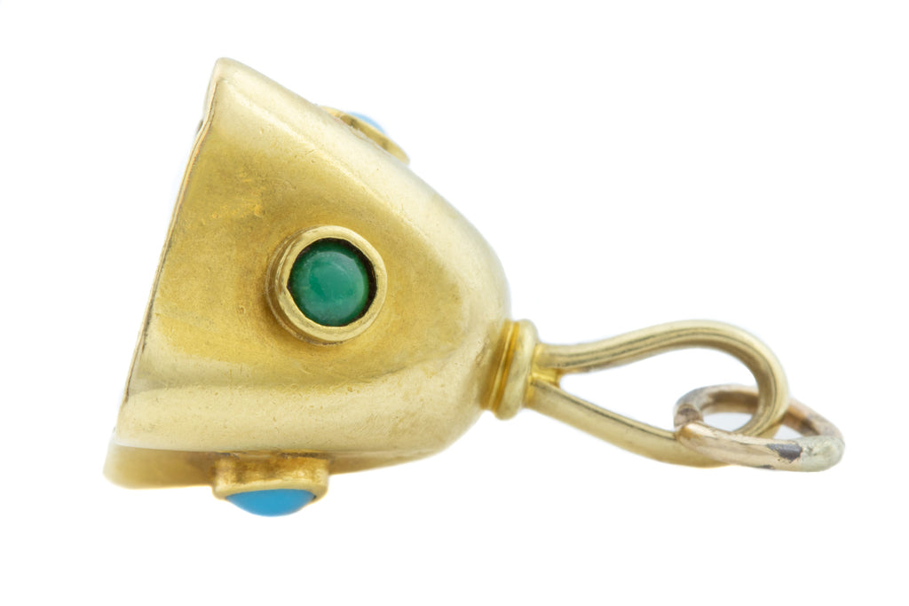 18ct Gold Antique Turquoise Bell Pendant