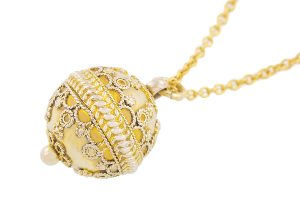 Antique Etruscan 12ct Gold Sphere Pendant with Chain