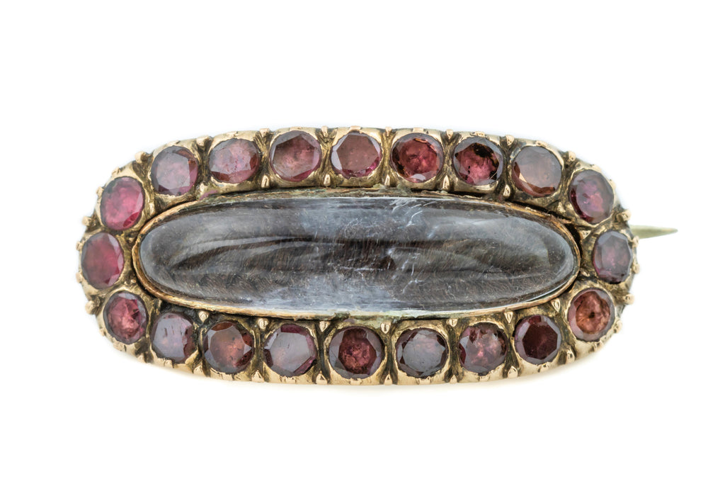 Georgian Garnet and Rock Crystal Mourning Brooch c.1800