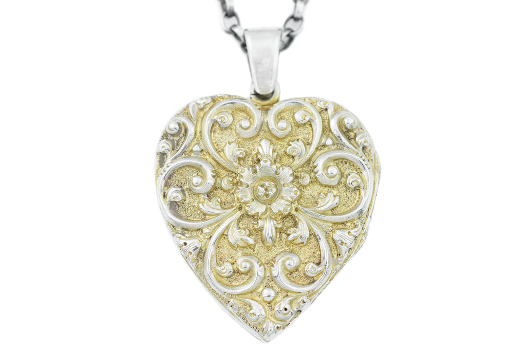 "Victorian Silver Repousse Heart Locket, with 20"" Chain"