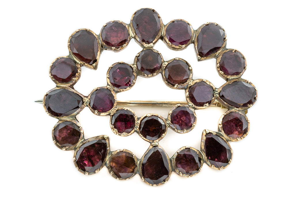 Georgian 12ct Gold Garnet Brooch, with Pendant Attachment